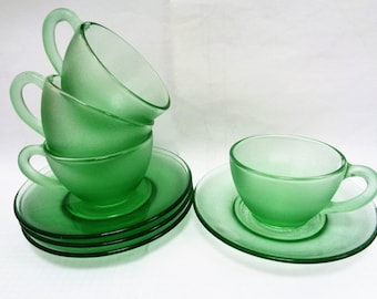 Coffee Cups, Espresso Cups, Green Glass Coffee Cups, Coffee cups demitasse, Coffee Cups Set, Espresso cups, Made in Brazil, 60s