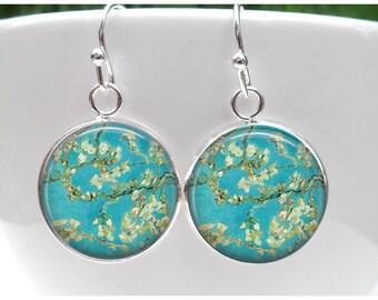 Van Gogh Almond Tree Earrings - Fine Art Jewelry - Gift for Art Teacher - Sterling Silver plated