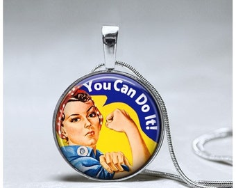 Girl Power Necklace - Girl Power Pendant - Encouragement Gift Empowerment necklace - Rosie the Riveter Pendant - Vintage Girl Power necklace
