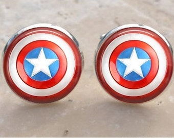 Captain America Cufflinks Captain America Shield Cuff Links Set - Superhero Cufflinks - College mens gifts - back to school mens gifts