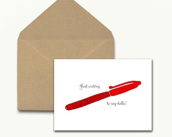 Red Pen Note Cards – Boxed Set of 10 With Envelopes