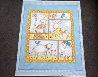 Fabric panels animal. Quilt panels to sew. Nursery panel fabric. Baby boy quilting fabric. Quilt fabric with blocks. Dog Duck Sheep Turtle.