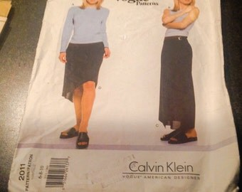 Vogue 2011 Sewing Pattern Calvin  Klein 2011 Petite Top & Skirt Close Fitting Pullover Top Size 6 8 10 Wrap Skirt