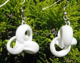 White 3D Printed Fun Drop Earrings, Three-ring Coil, Delicate Ribbed Texture, Silver Plated Wire Hooks