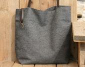 Shoulder Bag, Big Canvas Handbag, Canvas Shoulder Bag, Big Handmade Bag, Handmade Gift , Gray Shoulder Bag,