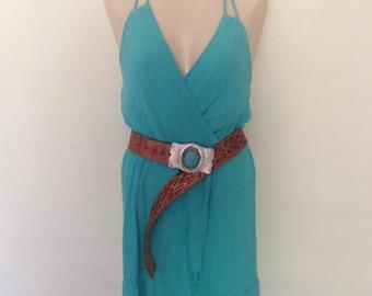 Turquoise Gauze Summer Dress