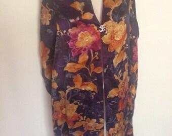 Vintage Silk Floral Shawl
