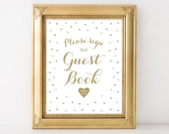 PRINTABLE Guest Book Sign, Printable Wedding Guest Book Sign, Gold and Silver Gray Wedding Decor, INSTANT DOWNLOAD