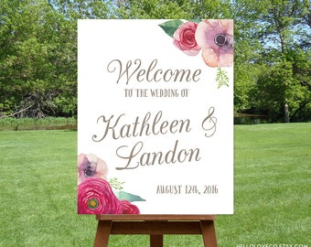 PRINTABLE Large Custom Wedding Sign | Floral Wedding Welcome Sign | Watercolor Flowers Ceremony Entrance Sign | DIGITAL