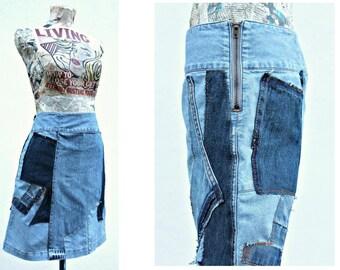 Handmade Denim skirt Upcycled Blue skirt Denim Boho clothing Festival clothing Hippie clothing Grunge Patchwork Hipster clothing Mini skirt