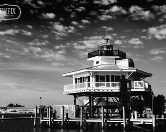 lighthouse, black & white, photography, rtwpix, wall art, wall decor, nautical, home, fine art photography, cambridge, choptank river, HDR
