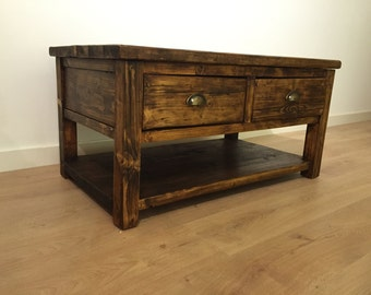 Reclaimed Pine TV Stand/Coffee Table With Shelf and drawers