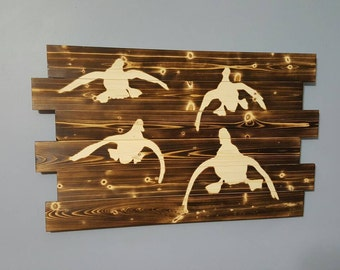 Ducks Coming In Duck Hunting Waterfowl Wooden Wall Art