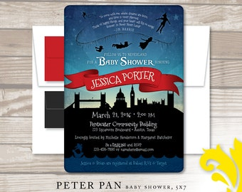 PETER PAN . baby shower invitation