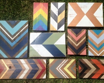 Custom Chevron Hand Painted Reclaimed Wood Sign, Gallery Wall, Accent Color, Sign Wall