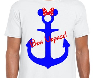 Disney Cruise - Minnie Mouse Anchor Bon Voyage T-Shirt - Disney Cruise T-Shirt - Family Cruise Shirts - Ladies Cruise Tank