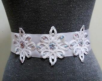 Rhinestone lace bridal sash belt, Bridal belt, Wedding dress belt , Rhinestone belt, Crystal belt, Beaded belt, Bling belt, Wedding sash