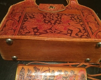 2 vintage all leather ethnic bags/