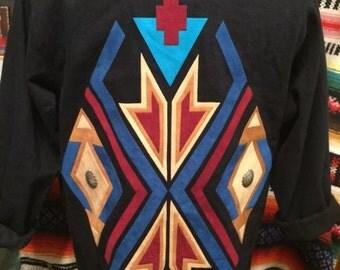Sundance Southwestern Navajo black women's blazer sz S