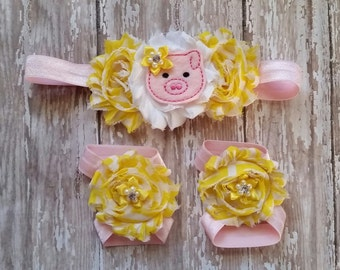 Pig headband set, Farm girl headband, mini pig