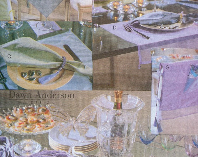 Free Us Ship Craft Sewing Pattern Uncut Vogue 7188 Table Top Topper Placemat Pocket Band Chair Coasters Napkin Rings Uncut Out of Print 1999