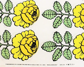 Marimekko, yellow/green/white Maalaisruusu fabric 145x42,5cm (one row of roses)
