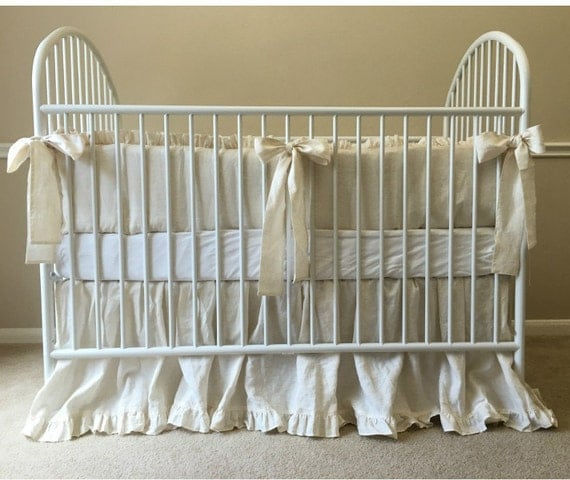 Linen Crib Bedding Neutral Baby Bedding By