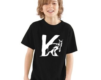 Kids K is for Kangaroo T-Shirt / Childrens Animal A-Z Alphabet T Shirt in Black, Grey, Pink, Yellow, Blue / Age: 3-4, 5-6, 7-8, 9-11, 12-13