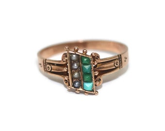 Antique Victorian 10k Rose Gold Turquoise and Seed Pearl Ring size 7.25