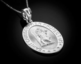 Sterling Silver Saint Christopher Protect Us Oval Medallion Pendant Necklace
