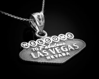 Sterling Silver Las Vegas Pendant Necklace 'Welcome to Fabulous Las Vegas Nevada' charm