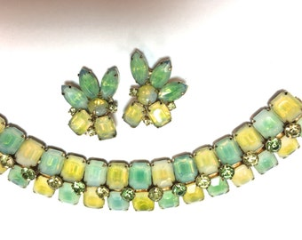 50s Green Yellow Glass Bracelet and Earring Set | Costume Jewelry