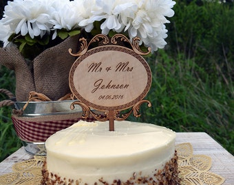 Wooden Cake Topper with Elegent Design