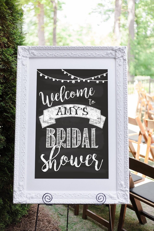 Bridal shower welcome sign bridal shower sign engagement for Wedding shower signs