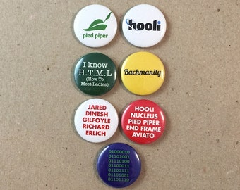 Silicon Valley HBO Quotes Fan Art Mike Judge 7 - 1 Inches Pinback Button Pin Set