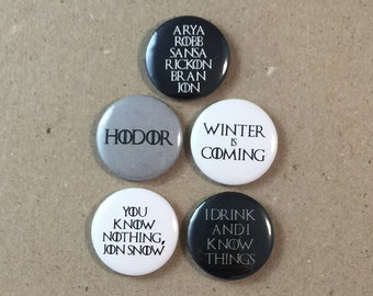 Game of Thrones HBO George R. R. Martin Quotes Fan Art 5 - 1 Inches Pinback Button Pin Set