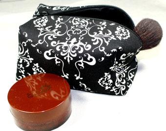 Black Makeup bag- Black and Silver Damask print Cosmetic Bag- Box Shaped Cosmetic bag