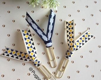 Mint or Geometric Ribbon Clip Set