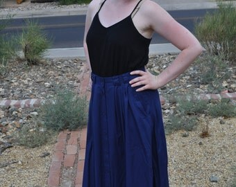 Vintage 1970s Navy Blue TR Bentley Long Skirt With Pockets