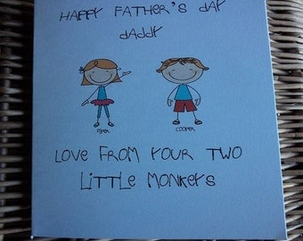 Fathers day card, Father's Day Card, Cute Father's Day Card, Cute Father's Day Card, personalised fathers day card Greeting Card