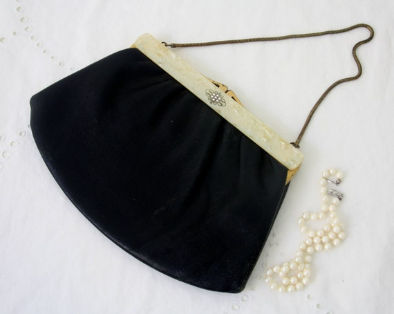 Vintage Black Leather Evening Bag, Purse, Gold Metal Clasp and Chain Handle, Mother of Pearl and Rhinestone Decor