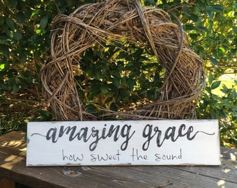 Amazing grace, hymn, kitchen, pantry, blessing, black and white, long, wooden sign, hand painted, wooden, sign