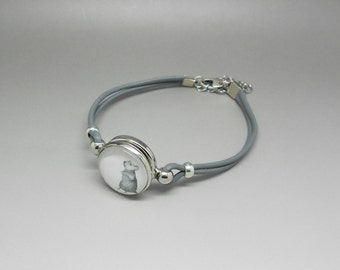 grey leather with snap chunk cabochon bracelet mouse craft