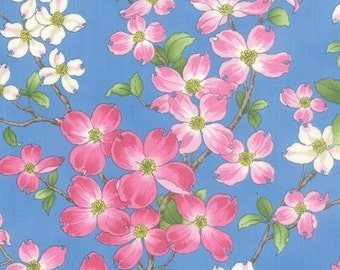 Dogwood Trail II - Dogwood Flowers Pink White on Bright Blue Background by the Half Yard
