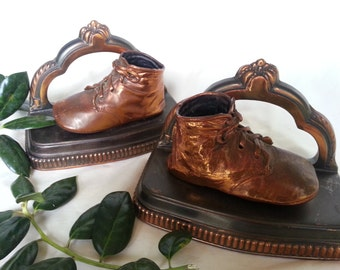 Vintage bronzed baby shoe bookends, 1920's bookend with baby booties