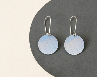 Blue Disc Earrings - Light blue medium reversible dangle earrings - sterling silver ear wires