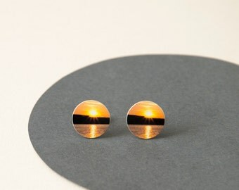 Sunset Stud Earrings - Bright yellow Studs