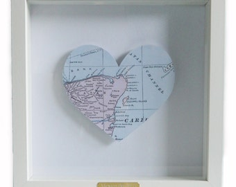 Framed Heart Map Artwork: 1st Wedding Anniversary/ Engagement/ Wedding Gift