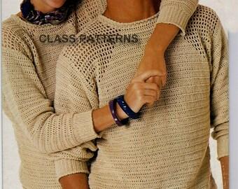 crew neck sweater crochet patternfor men or women vintage