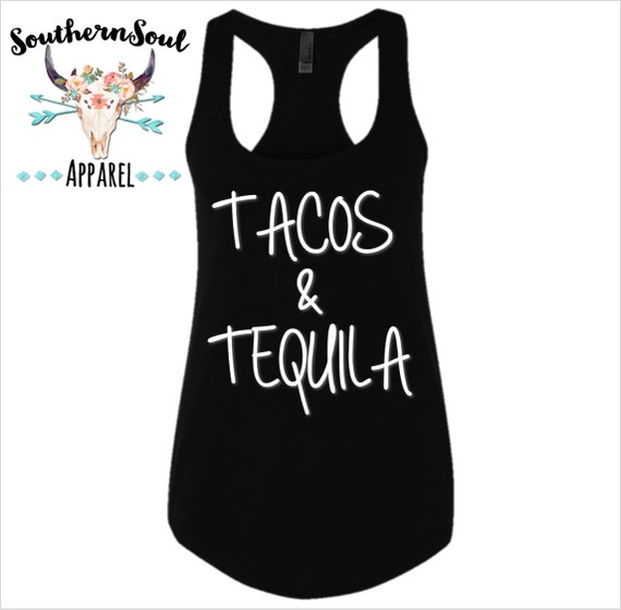 Tacos & Tequila Basic Racerback Tank Top, Country Shirt, Country Tank Top, Southern Tank, Concert Tank Top, Country Concert